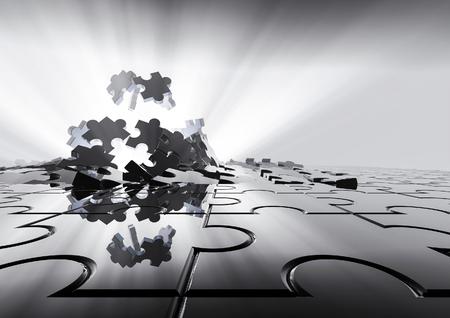 Puzzle background  3D render of puzzle pieces Archivio Fotografico