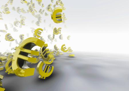 credit union: Tumbling euros  3D render of euro symbols Stock Photo