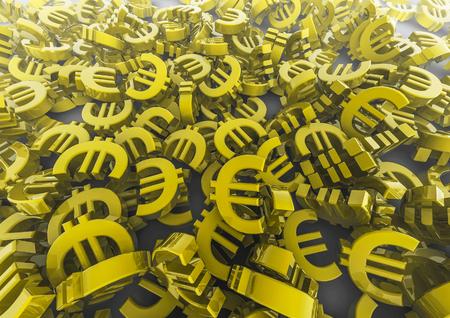 savings and loan crisis: Euro pile  3D render of euro symbols