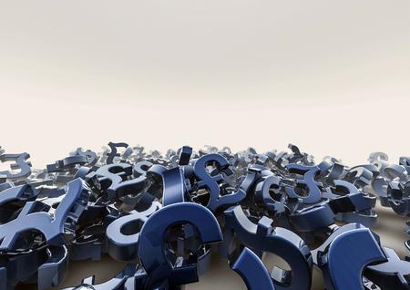 pound: Pound pile  3D render of pound symbols Stock Photo