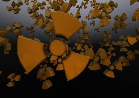 radioactivity: Tumbling radioactivity  3D render of radioactive symbols