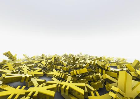 savings and loan crisis: Yen pile  3D render of yen symbols
