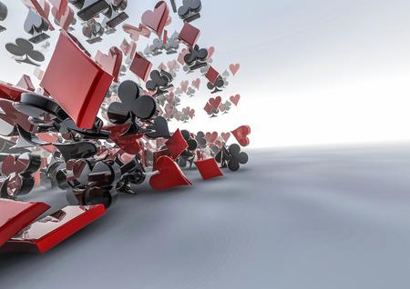 카드 한 벌을 쏟아하면 카드 정장 기호의 3D 렌더링