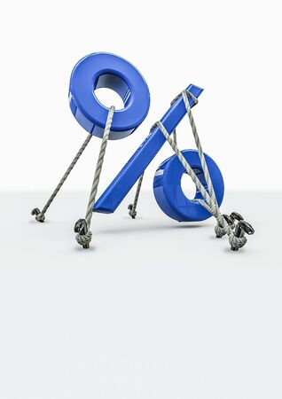 tied down: Tied down percentage  3D render of percentage symbol tied down with ropes