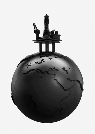 unsustainable: World oil  3D render of black Earth globe and oil rig