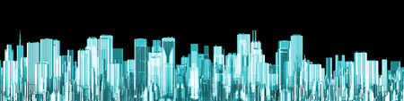 Hologram city panorama  3D render of glowing holographic view of modern city