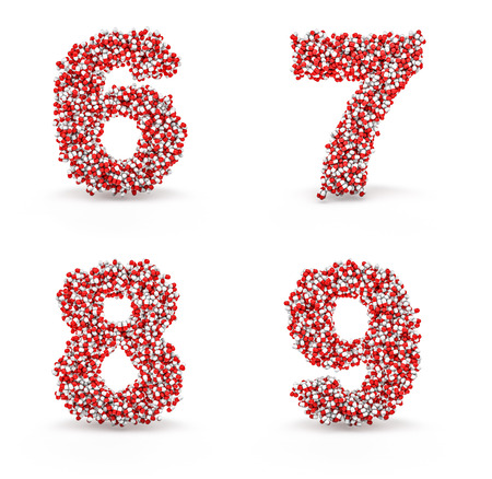 7 8: Pills alphabet 6 7 8 9  3D render of medicine capsules forming alphabet characters, easy to colorize Stock Photo
