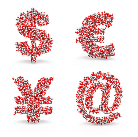 colorize: Pills alphabet dollar euro yen email  3D render of medicine capsules forming alphabet characters, easy to colorize