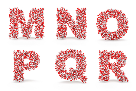 r p m: Pills alphabet M N O P Q R  3D render of medicine capsules forming alphabet characters, easy to colorize