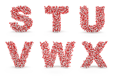 colorize: Pills alphabet S T U V W X  3D render of medicine capsules forming alphabet characters, easy to colorize