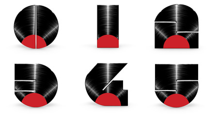 0 to 5: Vinyl alphabet 0 1 2 3 4 5  3D render of alphabet characters in the form of a vinyl record