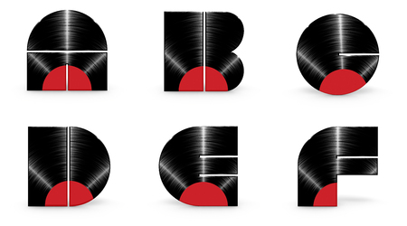 uppercase: Vinyl alphabet A B C D E F  3D render of alphabet characters in the form of a vinyl record