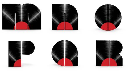 r p m: Vinyl alphabet M N O P Q R  3D render of alphabet characters in the form of a vinyl record Stock Photo