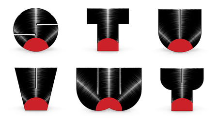 u s: Vinyl alphabet S T U V W Y  3D render of alphabet characters in the form of a vinyl record