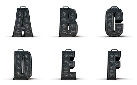 studio b: Amplifier alphabet A B C D E F  3D render of alphabet characters in the shape of music amplifiers