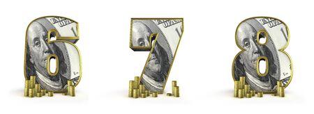 7 8: Money alphabet numbers 6 7 8  3D render of money alphabet numbers