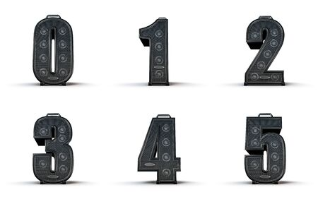 0 to 5: Amplifier alphabet 0 1 2 3 4 5  3D render of alphabet characters in the shape of music amplifiers