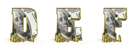 Geld Alfabetletters DEF 3D render van geld Alfabetletters