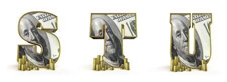 Money alphabet letters S T U  3D render of money alphabet letters