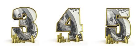3 4: Money alphabet numbers 3 4 5  3D render of money alphabet numbers