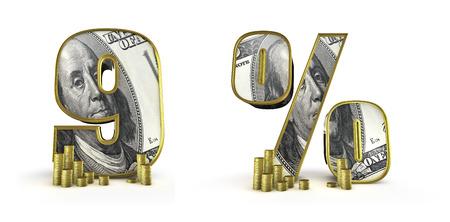 numero nueve: Dinero números del alfabeto 9 por ciento 3D rinden de la moneda número nueve alfabeto y símbolo de porcentaje