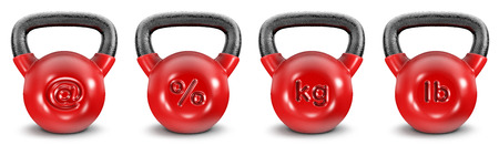 webmail: Kettlebell symbols  3D render of heavy kettlebells with symbols, easy to colorize Stock Photo