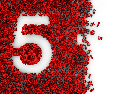 Void alphabet 3D  Number shaped hole formed by thousands of smaller ones, easy to colorize Stock Photo