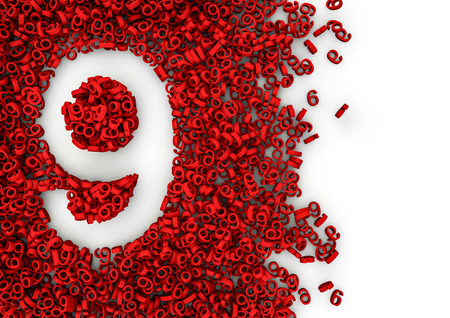 Void alphabet 3D  Number shaped hole formed by thousands of smaller ones, easy to colorize Reklamní fotografie - 46107017