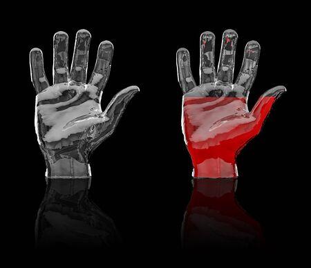 palmier: Verre 3D de la main de rendre de la main de verre vide et � moiti� rempli d'un liquide rouge, facile � coloriser Banque d'images