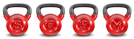 on a white background: Kettlebell currencies  3D render of heavy kettlebells with currency symbols, easy to colorize