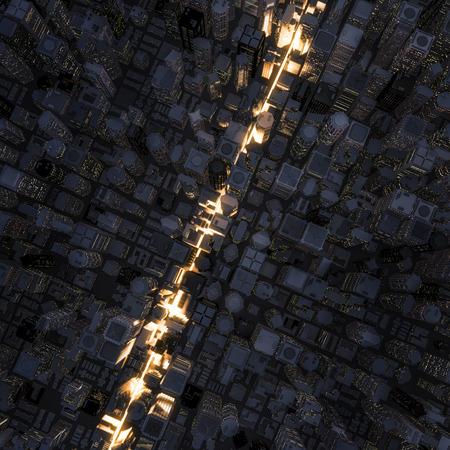 빠른 차선 도시는 밤 시간 도시를 통해 빛 줄무늬의 3D 렌더링 스톡 콘텐츠 - 46107391
