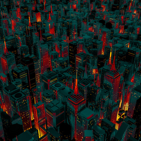Night city glow cartoon  3D render of night time city lit from streets below with cartoon style colouring Stock Photo