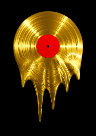 Melting gold vinyl record  3D render of vinyl record melting Фото со стока
