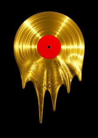 Smeltend gouden vinylplaat 3D render van vinyl record smelten Stockfoto