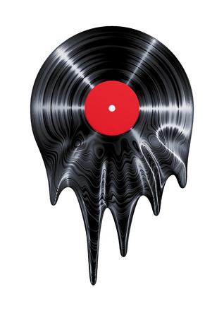remix: Melting vinyl record  3D render of vinyl record melting Stock Photo