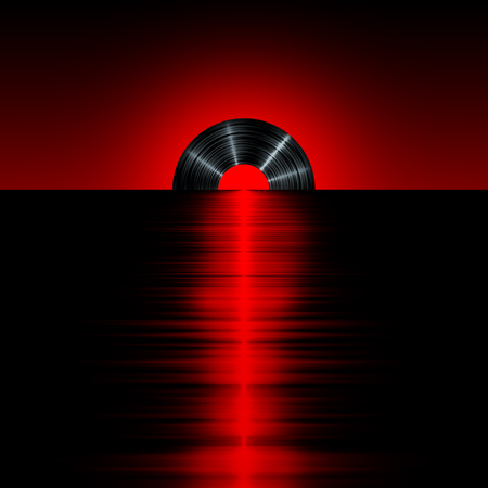 비닐 석양 빨간색 수평선에 석양으로 비닐 레코드의 3D 렌더링 스톡 콘텐츠