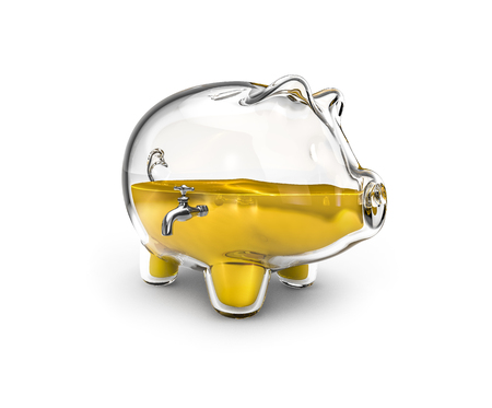 liquid gold: Glass piggy bank  3D render of glass piggy bank with tap half full of liquid gold
