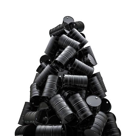 오일 드럼의 피크가 검은 기름 드럼의 3D 렌더링 스톡 콘텐츠