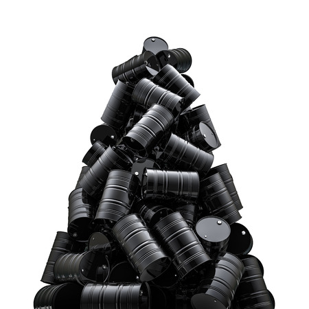 Oil drums peak  3D render of black oil drums Stock Photo