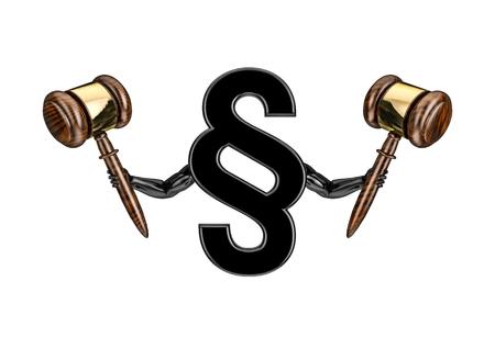 advocate symbol: I am the law  3D render of section sign holding judges gavels