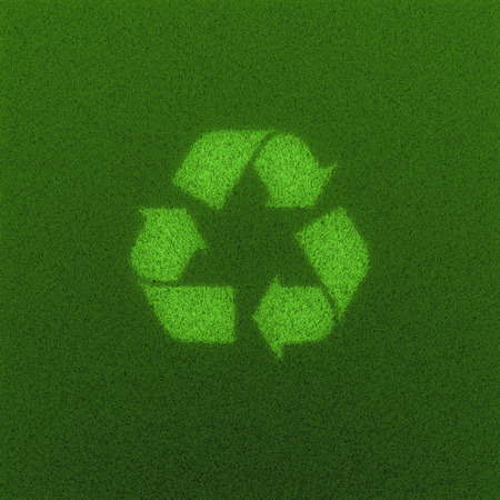 grass: Recycled grass field  3D render of recycling symbol grown from grass