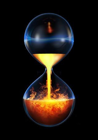Old flame  3D render of hourglass flowing liquid fire