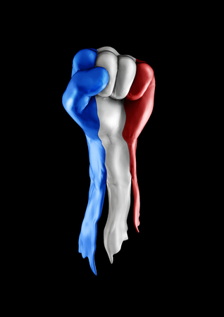 raised hand: France strength and unity, 3D render of raised fist covered with French tricolour flag