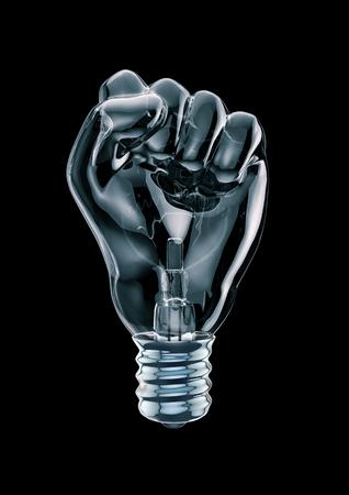 Protest Faust Glühbirne 3D-Darstellung von Glas Glühbirne in Form von geballten Faust machen Standard-Bild