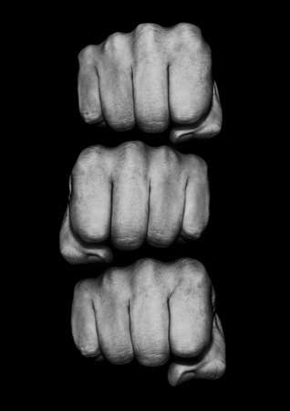 Fist pile  Photograph of grungy fists, just add text to knuckles Stock Photo