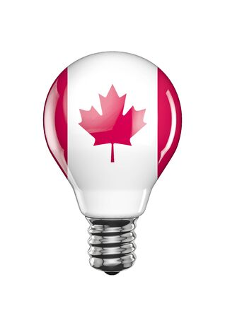 Canadian light bulb  3D render of light bulb with Canadian flag