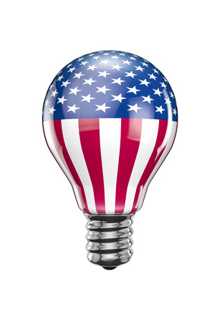 bandera blanca: USA light bulb  3D render of light bulb with American flag