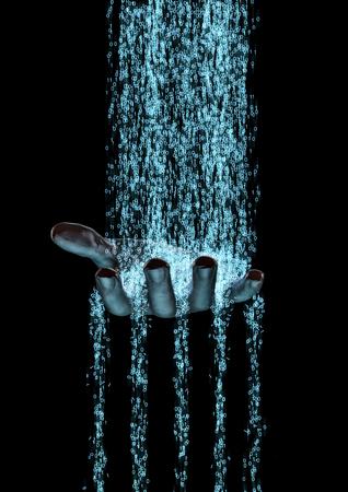 codigo binario: Binario flujo mano 3D de datos binarios que fluyen a la mano humana Foto de archivo