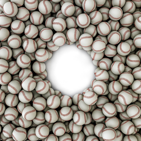 outfield: Baseballs frame  3D render of baseballs framing copy space Stock Photo