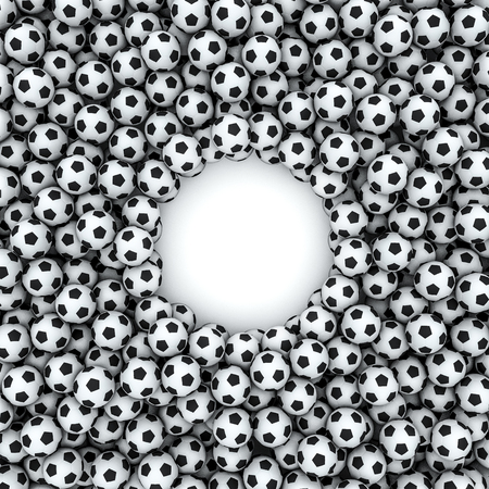 soccerball: Soccer balls frame  3D render of hundreds of soccer balls framing copy space Stock Photo
